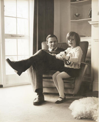 Bruce McLaren with daughter Amanda at the Muriwai House, Walton on Thames UK in 1969
