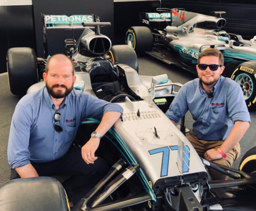 Jim and Mike admire the Mercedes F1 in close up