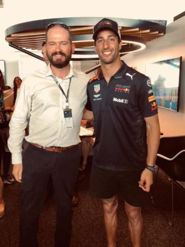 Jim getting out smiled by Daniel Ricciardo